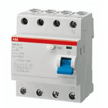 УЗО АВВ выключатель дифф. тока 4мод. F204 АС-63/0,3