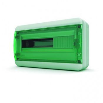 Tekfor бокс 18М накладной IP65 прозрачная зеленая дверца