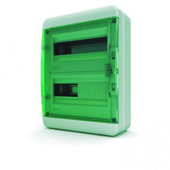 Tekfor бокс 24М накладной IP65 прозрачная зеленая дверца